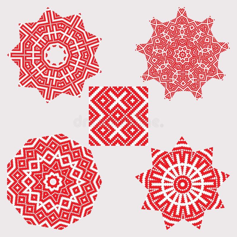 Set ethnic ornament mandala patterns in red color royalty free illustration