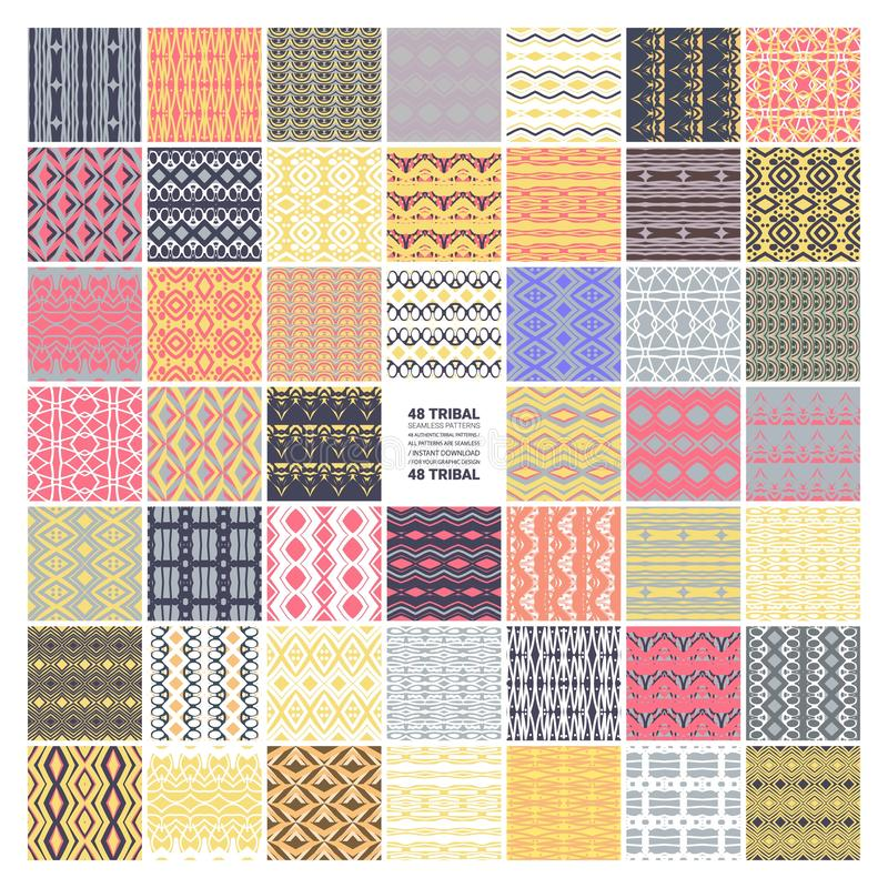 Set of 48 ethnic seamless patterns vector illustration