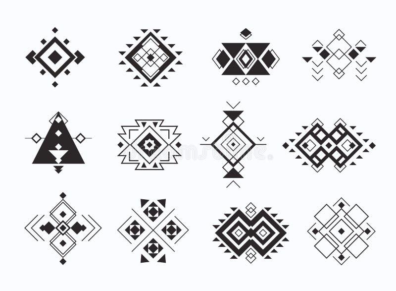 Set ethno plemienni aztec symbole geometryczni etniczni wystrojów elementy inkasowi ilustracja wektor