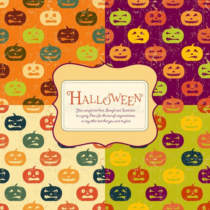 set etikett för bakgrundsfärger fyra halloween stock illustrationer