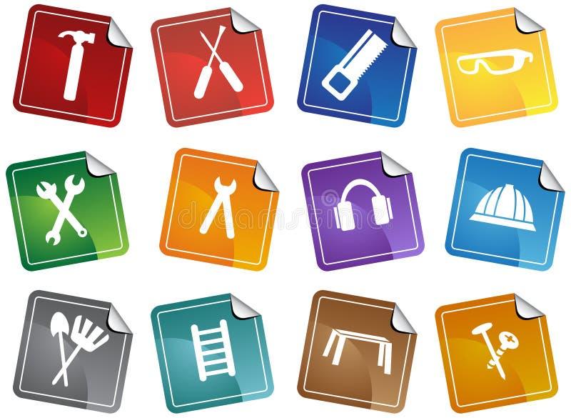 set etikett för maskinvarusymbolsserie stock illustrationer