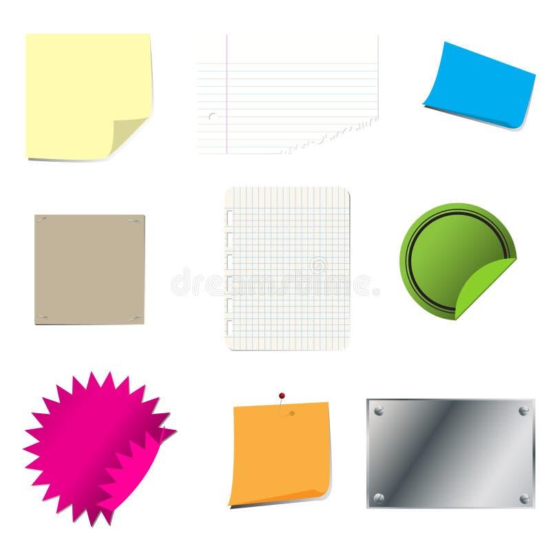 set etikett för papper stock illustrationer