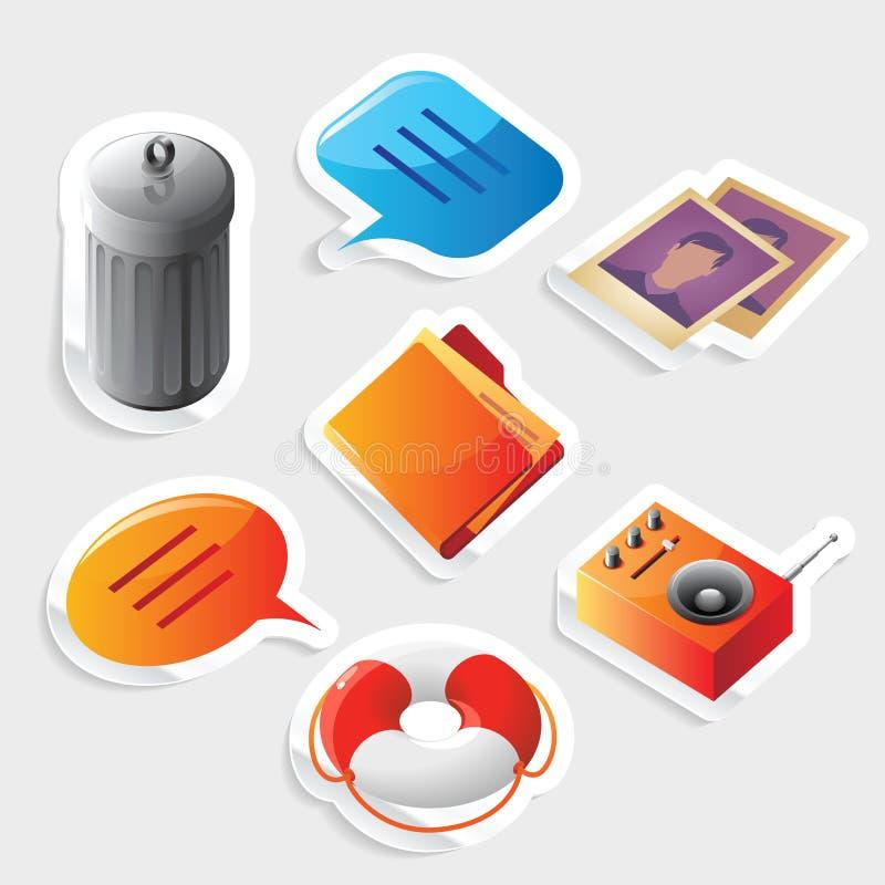 set etikett för symbolsmanöverenhet royaltyfri illustrationer