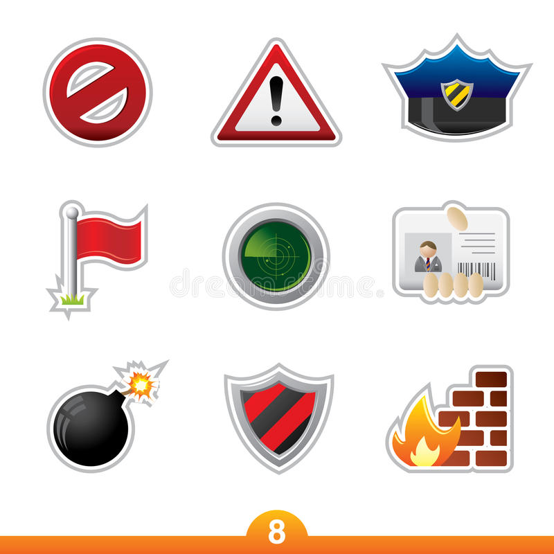 set etikett för symbolssäkerhet vektor illustrationer