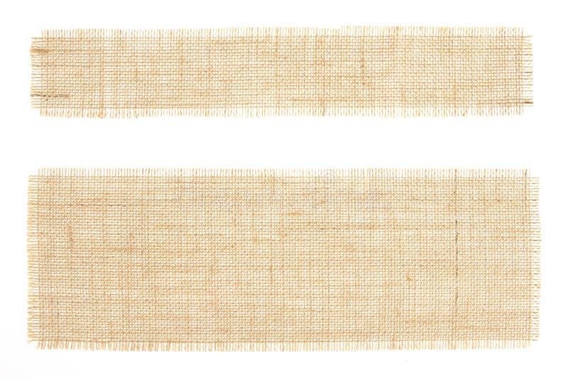 set etiketter för burlapcanvasackcloth arkivfoton