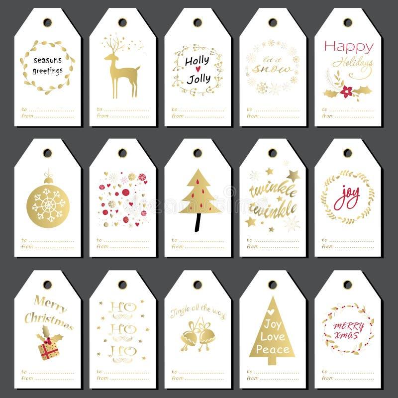 set etiketter för julgåva royaltyfri illustrationer