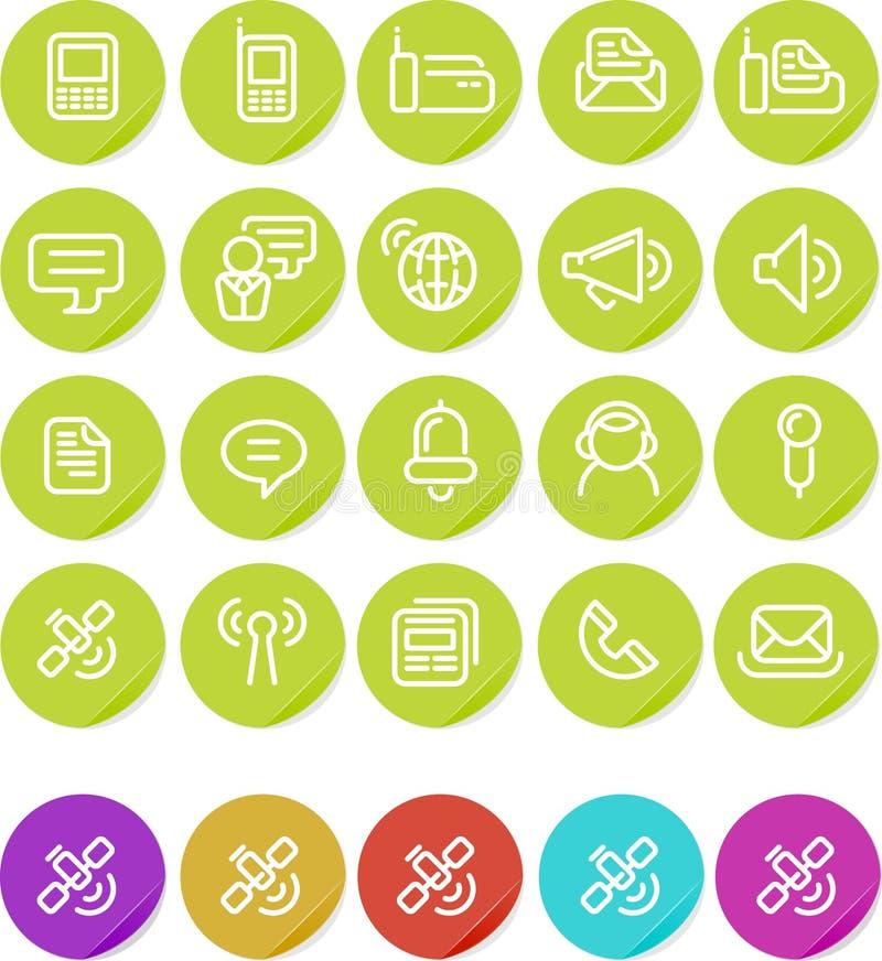 set etiketter för kommunikationssymbolsplain vektor illustrationer