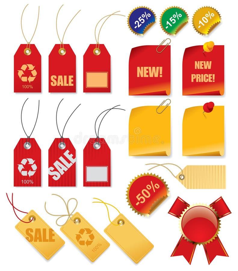 set etiketter för pris royaltyfri illustrationer