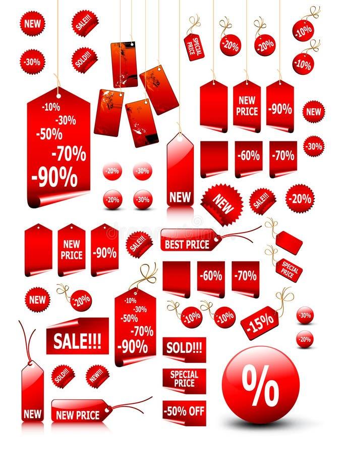 set etiketter för stort pris vektor illustrationer