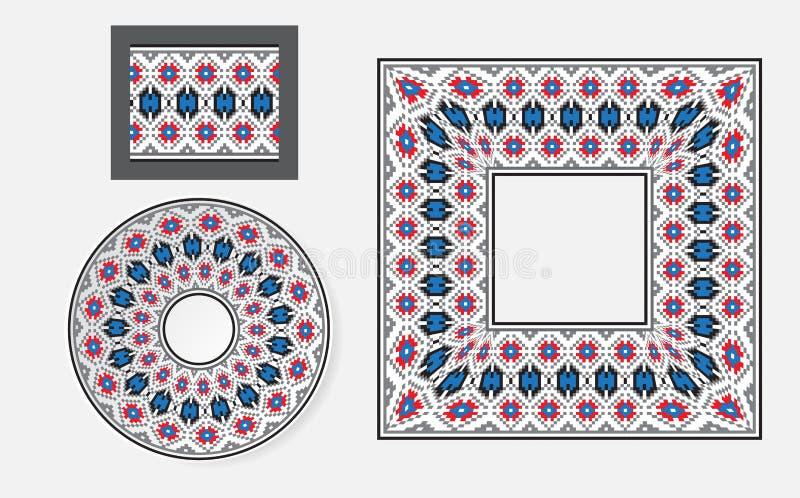 Set Etniczni ornamentu wzoru muśnięcia ilustracji