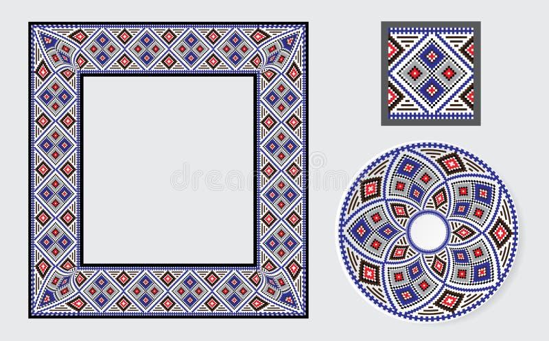 Set Etniczni ornamentu wzoru muśnięcia ilustracja wektor