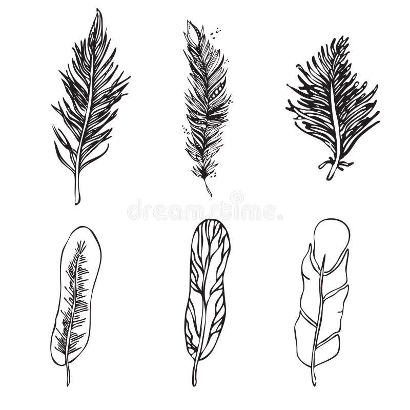 Set Etniczni piórka na białym tle Rocznik Artistical royalty ilustracja