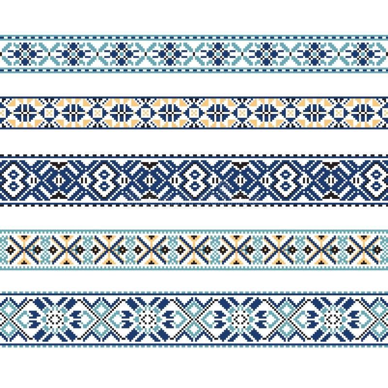 Set Etniczny ornamentu wzór w błękitnych kolorach ilustracja wektor