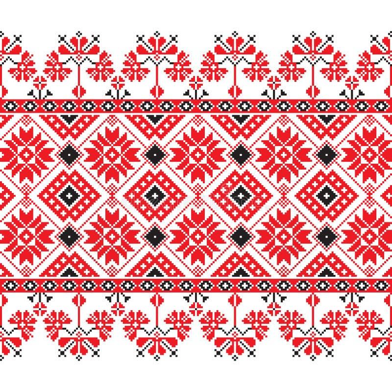 Set Etniczny ornamentu wzór w czerwieni, czarny i biały kolory ilustracji