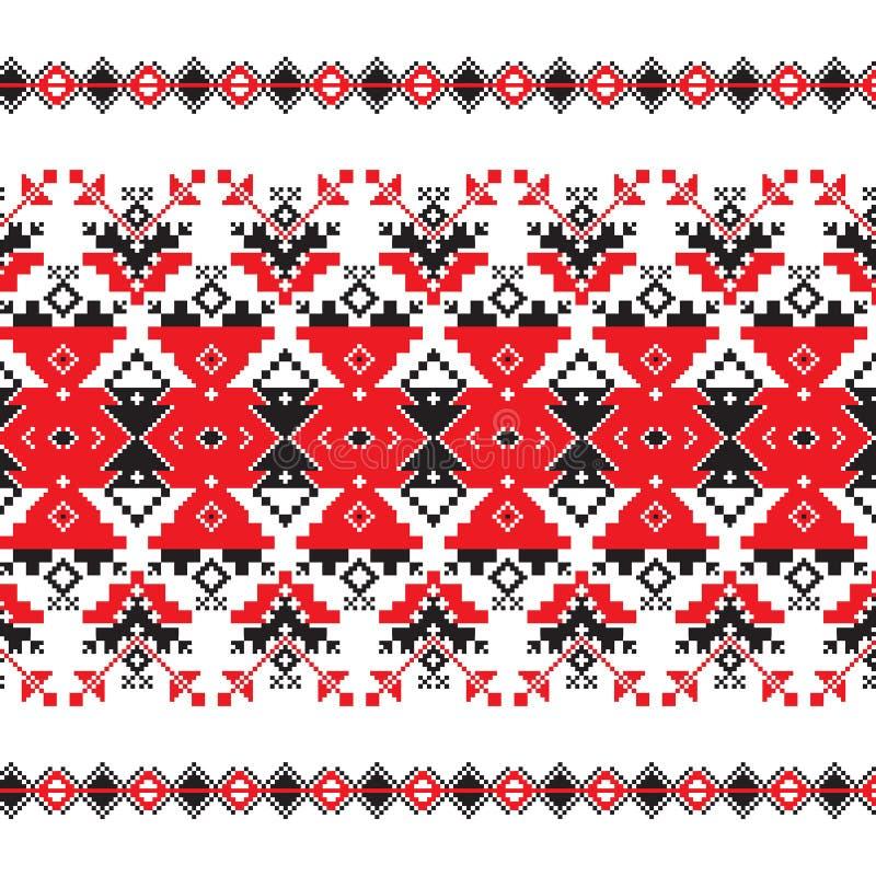 Set Etniczny ornamentu wzór w czerwieni i czerni kolorach royalty ilustracja