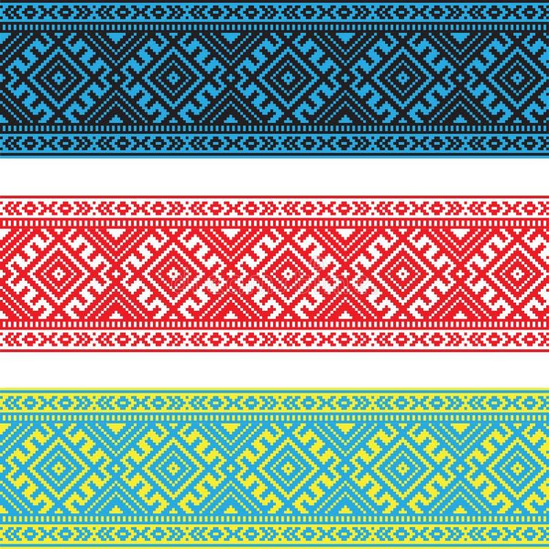 Set Etniczny ornamentu wzór w różnych kolorach również zwrócić corel ilustracji wektora ilustracji