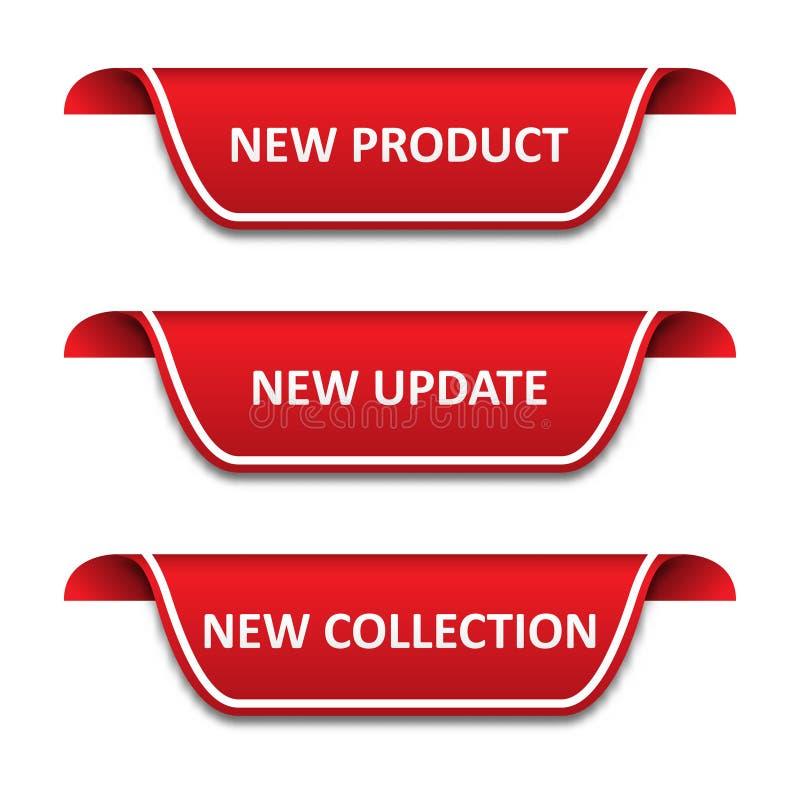 Set etykietka faborki Nowy produkt, nowa aktualizacja, nowa kolekcja royalty ilustracja