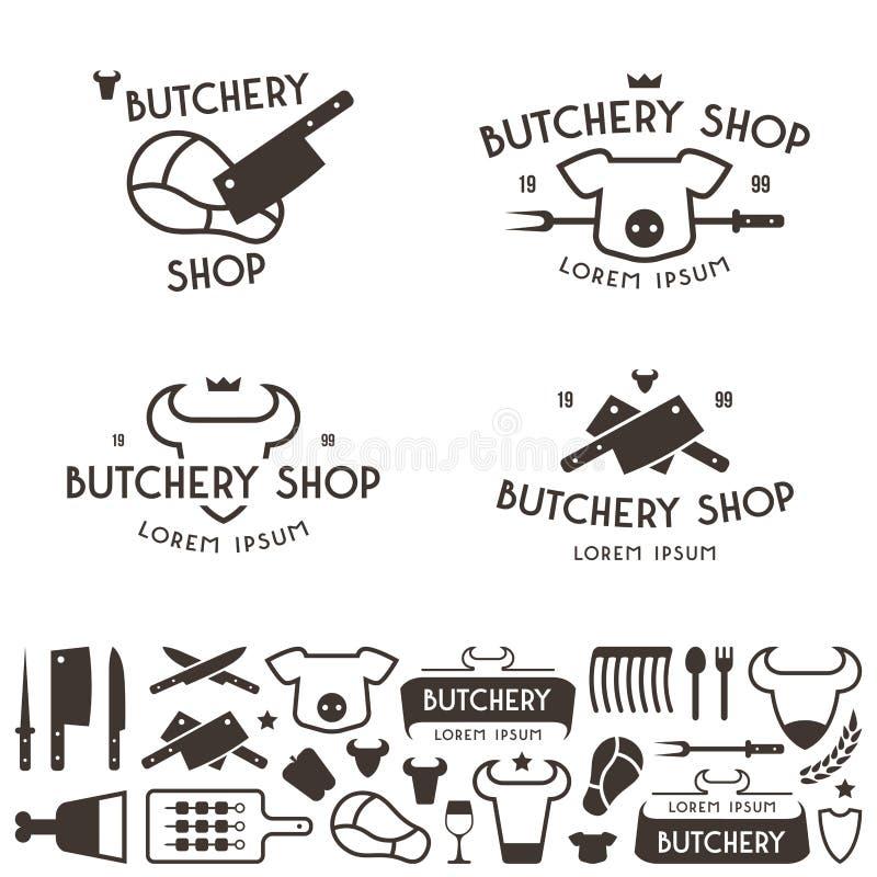 Set etykietka szablony i logo butchery robimy zakupy ilustracji