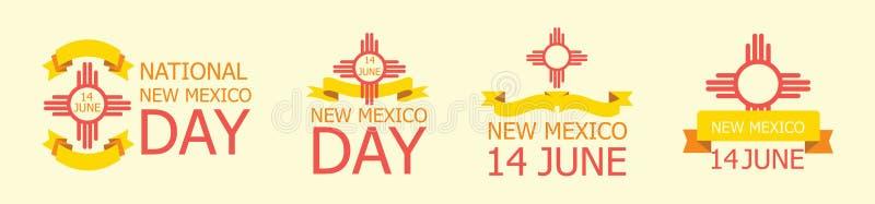 Set etykietka, znak dla Krajowy Nowego - Mexico dzień Czerwiec 14 royalty ilustracja