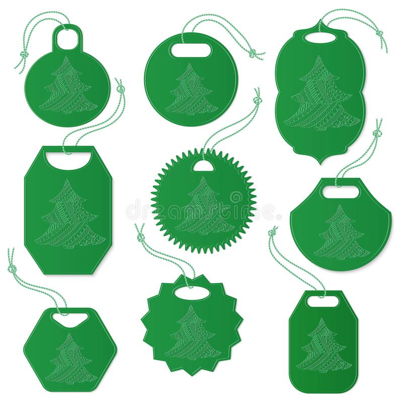 Set etykietki Dekorować z choinką ilustracja wektor