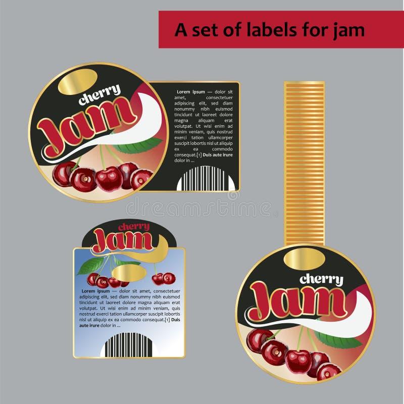 Set etykietki dla czereśniowego dżemu Odosobniony wizerunek royalty ilustracja
