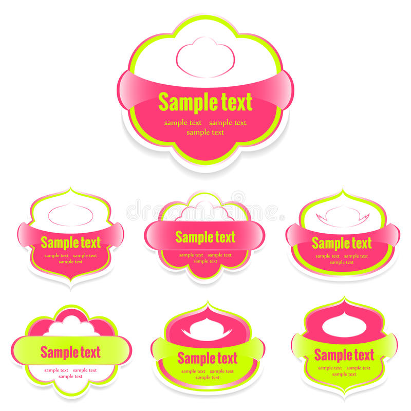 Set etykietki dla jedzenie menchii royalty ilustracja