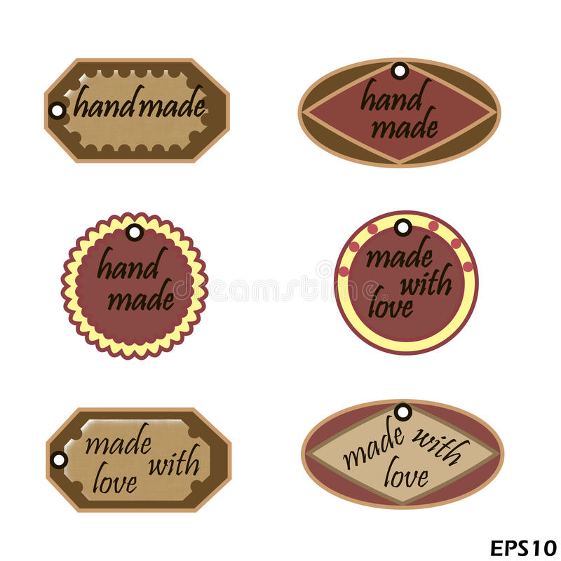 Set etykietki dla zaznaczać handmade produkty ilustracja wektor
