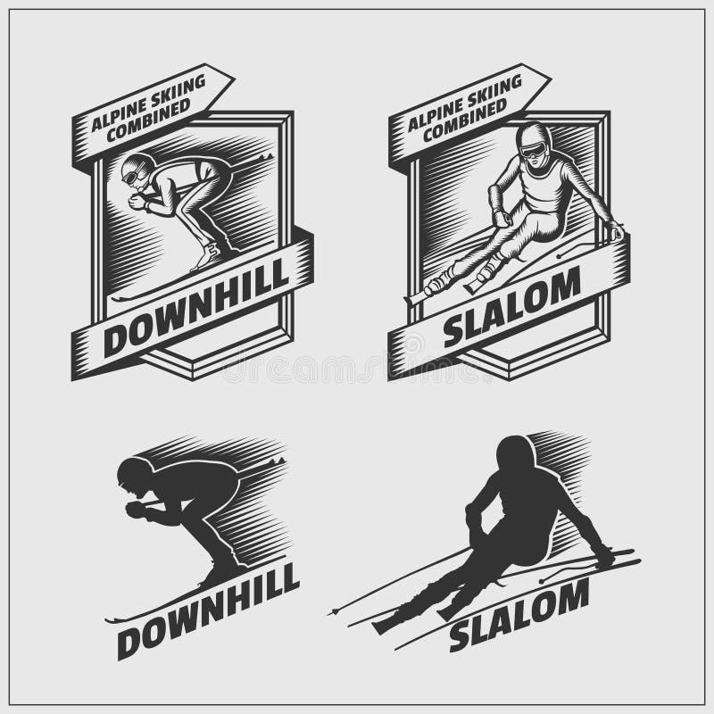 Set etykietki dla zima sportów Zjazdowy i Slalomowy również zwrócić corel ilustracji wektora ilustracji