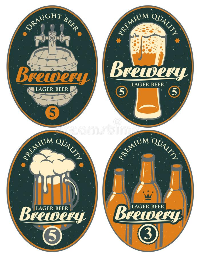 Set etykietki lub sztandary dla piwa i browaru ilustracji