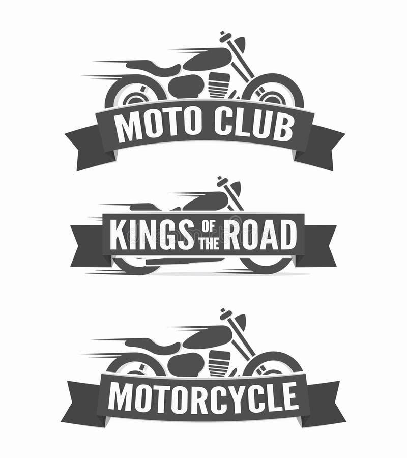 Set etykietki, odznaki i logowie rocznika motocyklu, ilustracja wektor