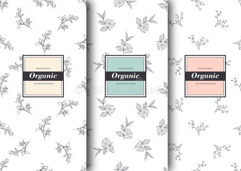 Set etykietki, pakujący dla organicznie sklepu lub naturalnych kosmetyków Wektorowy kwiecisty wzoru szablon dla pakować produkt royalty ilustracja