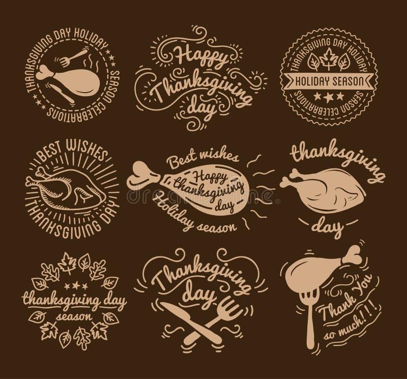 Set etykietki projektuje szablon dziękczynienie dzień Czarne ikony z indykiem dla sztandaru i zaproszenia Wektorowe etykietki royalty ilustracja