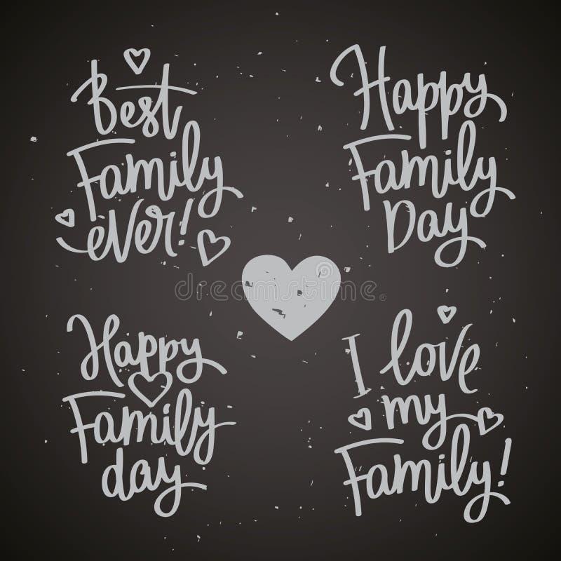 Set etykietki Rodzinny dzień royalty ilustracja