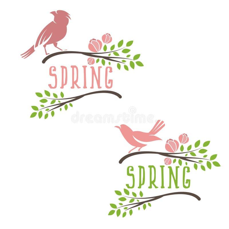 Set etykietki wiosna ptaki w gałąź kwiacie i liściach royalty ilustracja