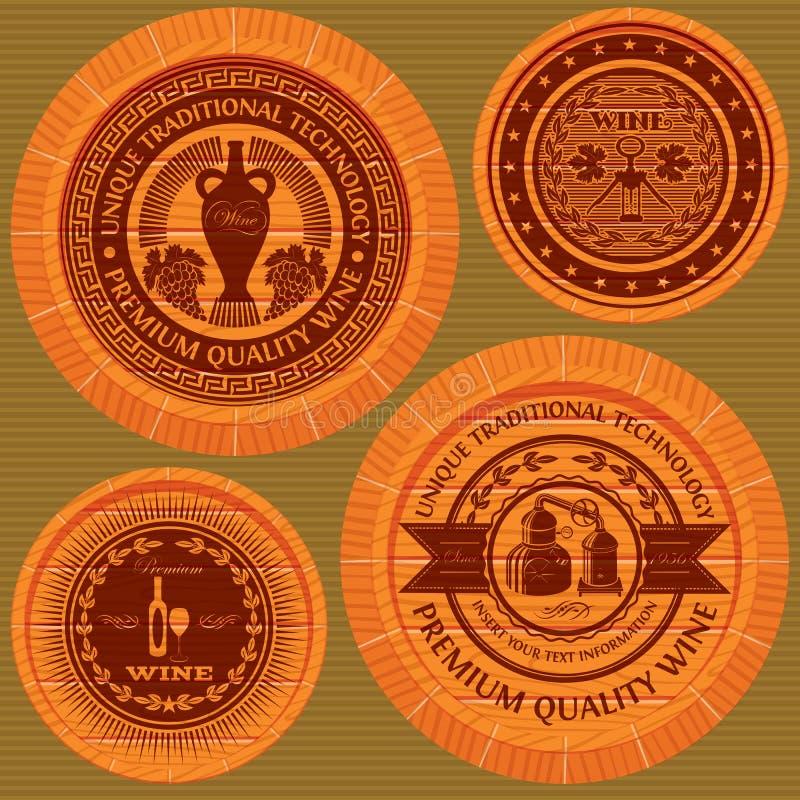 Set etykietki z winem na drewnianych beczkach royalty ilustracja