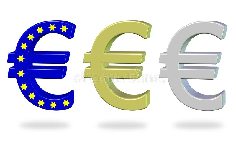 Set Euro symbols. Three color variations of the euro symbol in 3D royalty free illustration