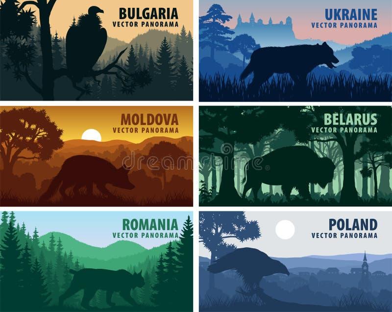 Set Europa Wschodnia kraje: Ukraina, Bułgaria, Moldova, Polska, Rumunia, Białoruś z zwierzętami ilustracja wektor