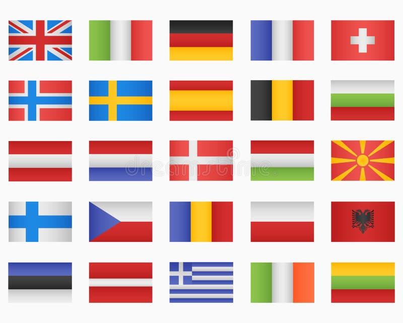 Set of European countries Flags. On white background royalty free illustration