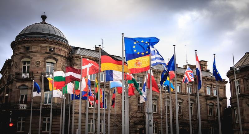 Set of European Flags near the National Train Station in the city center stock photography