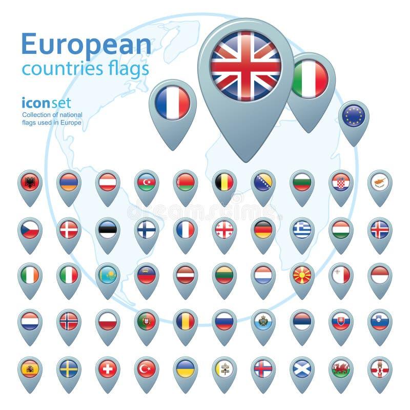 Set of european flags, vector illustration. Set of european flags, vector illustration royalty free illustration