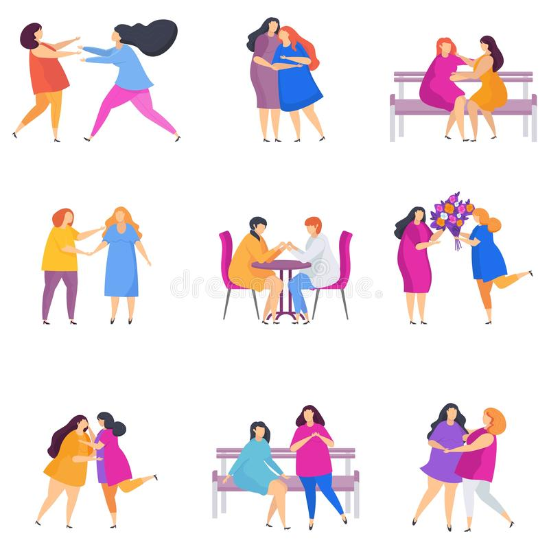 European Lesbian woman couples. Flat cartoon style. Set of european Lesbian woman couples in love. LGBT, female or transgender romantic partners isolated on stock illustration