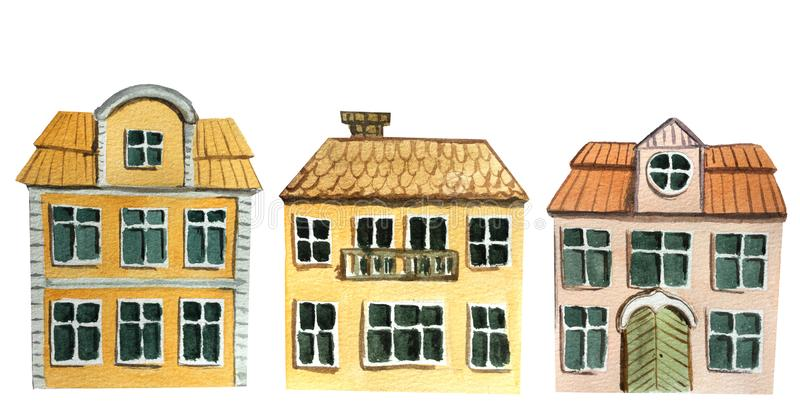 Set of european two-story houses on a white background. watercolor illustration for design vector illustration