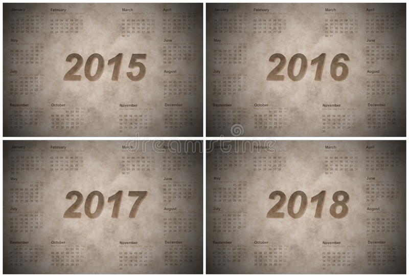 Set of european 2015, 2016, 2017 and 2018 year stock illustration
