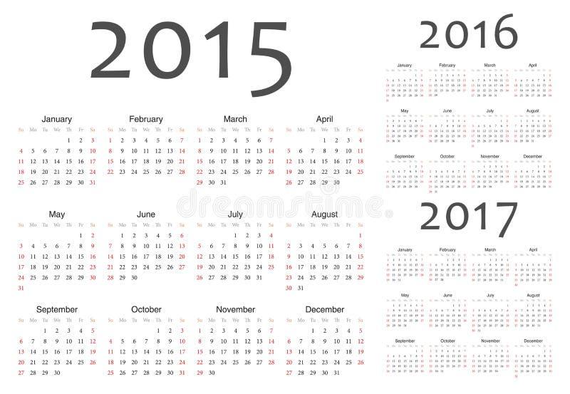Set of european 2015, 2016, 2017 year vector calendars royalty free illustration