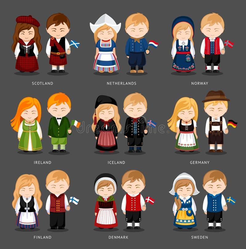 Set europejczyk pary ubierał w różnych krajowych kostiumach ilustracja wektor