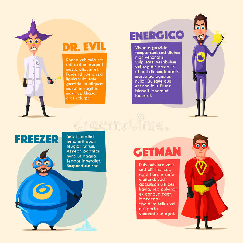Set of evil superhero. Cartoon vector illustratration. Characters in uniform. For banners and posters. Bad men. Hero person royalty free illustration