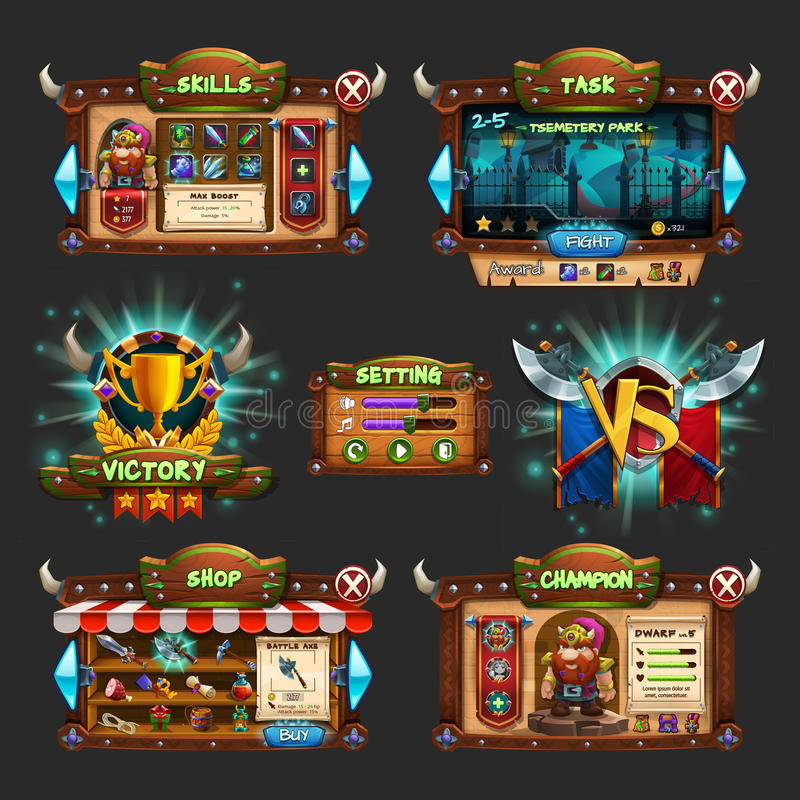 Set of example of wooden board user interface of game. Window of level choice, shop, skills, choice character, setting and victory. Vector illustration vector illustration