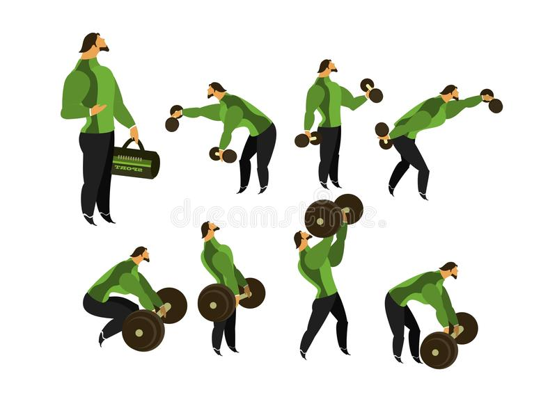 Set of exercises in the gym stock illustration