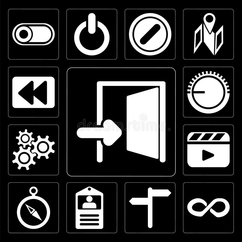 Set of Exit, Infinity, , Id card, Compass, Video player, Setting vector illustration