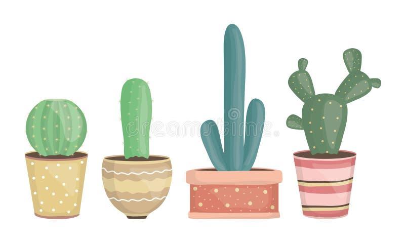 Set of exotic cactus plants in ceramic pots stock illustration